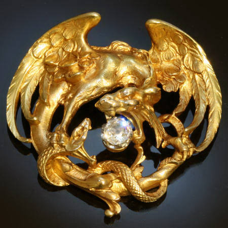Gold griffin fighting over sparkling diamond egg with serpent