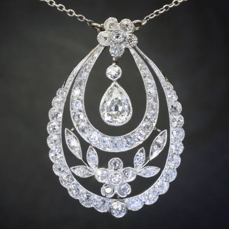 Platinum Edwardian diamond pendant in garland style with pear shape diamond