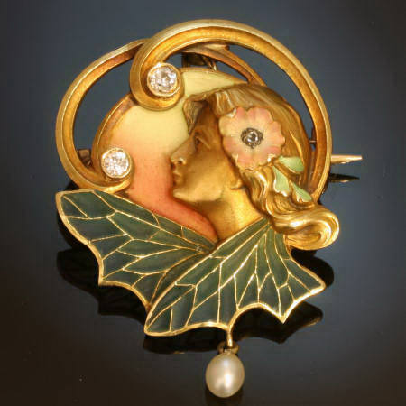 Art Nouveau plique a jour enamel brooch - pendant with diamonds and a pearl