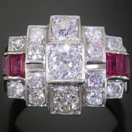 Platinum Art Deco brilliants rubies engagement ring