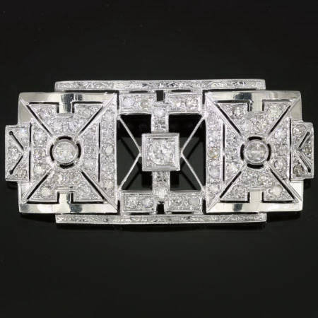 Geometrical platinum and diamond Art Deco brooch