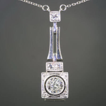 Art Deco big brilliant pendant with chain