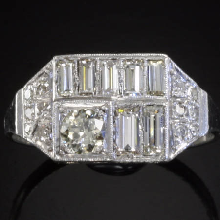 Platinum diamonds Art Deco engagement ring