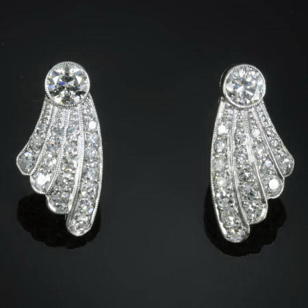 Elegant drape diamond estate earstuds