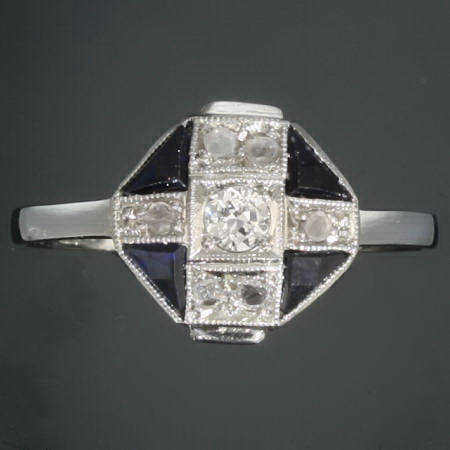 Interesting white gold Art Deco engagement ring with diamonds and sapphires