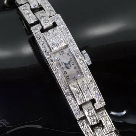 Platinum ladies Art Deco diamond wrist watch