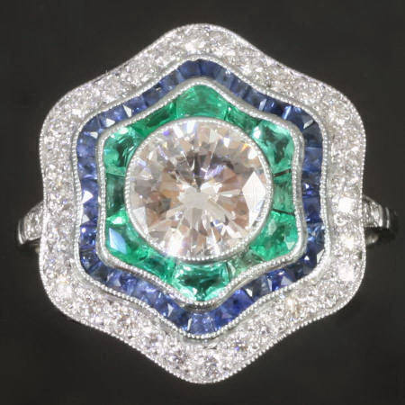 Art Deco inspired diamond sapphires and emeralds platinum engagement ring