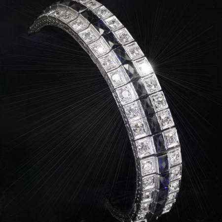 Stunning Art Deco diamonds and sapphires line bracelet