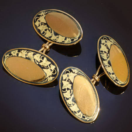 Beautiful and romantic golden vintage cufflinks with enamel