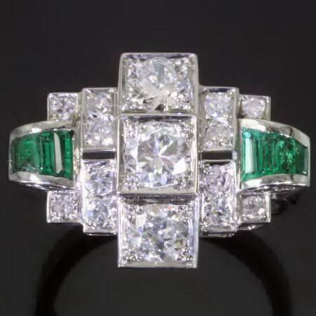 Platinum Art Deco brilliants emeralds engagement ring