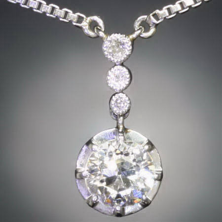 One big brilliant platinum Art Deco pendant 0.97 crt
