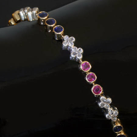 Victorian line or tennis bracelet with ruby, sapphire and rose cut diamonds