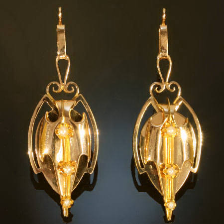 Pink gold long pendent Victorian earrings