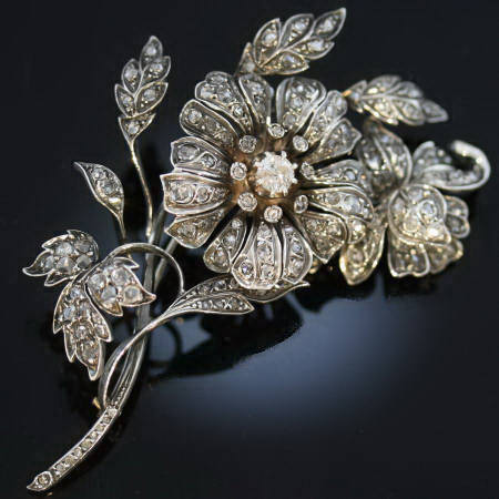 Victorian rose cut diamond flower brooch