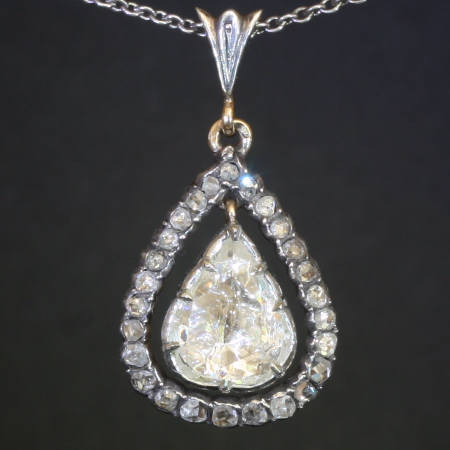 Big rose cut diamond antique pendant, Victorian jewelry