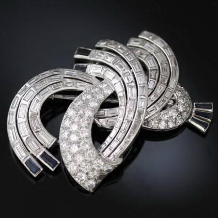 8+ Carat diamonds platinum estate brooch