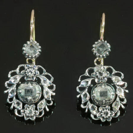 Antique earrings mid 18th century with table cut rose cut diamonds very special!