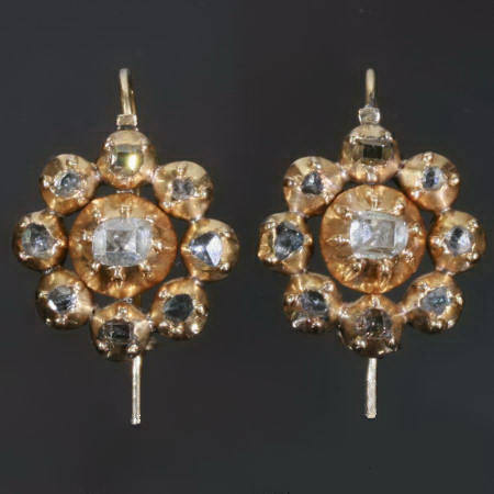 Early-Georgian golden earrings with table cut rose cut diamonds
