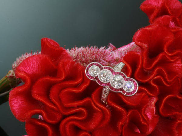 Magnificent Art Deco engagement ring with rubies and diamonds