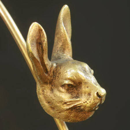 Typical French antique jewelry naturalistic hare head on bar brooch