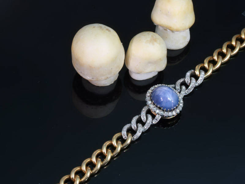 Absolute top notch bracelet by Léon Gariod with star sapphire and rose cuts