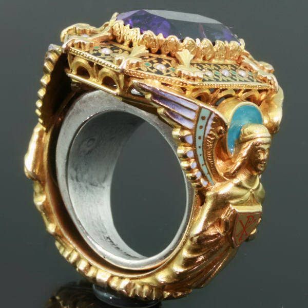 Gold Victorian Bishops ring with stunning enamel work and gem amethyst