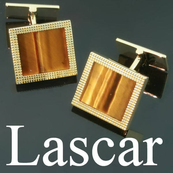 Gold estate cufflinks with tigers eye, signed M.Lascar, Brussels)