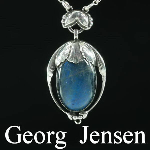 Original silver Georg Jensen pendant design no. 54 with labradorite. Early period!