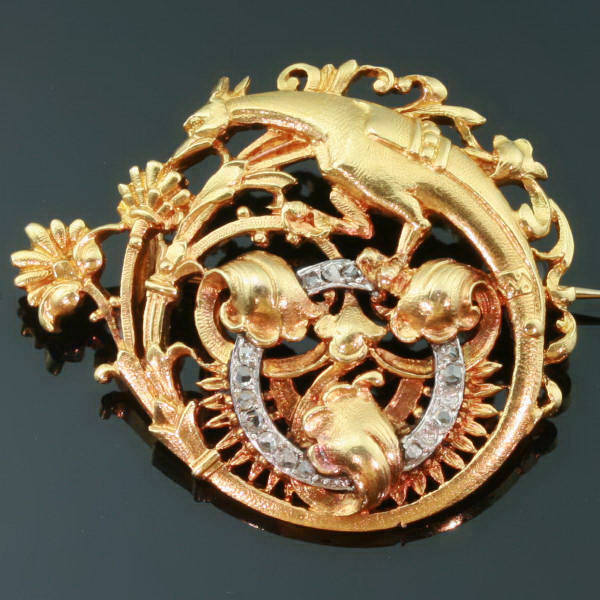 A tribute to French symbolic jewelry, elegant Victorian phoenix or griffin brooch with floral ornaments and rose cut diamonds from the antique jewelry collection of Adin Antique Jewelry, Antwerp, Belgium