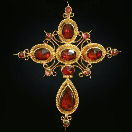 French Victorian cross with garnets from the antique jewelry collection of Adin Antique Jewelry, Antwerp, Belgium