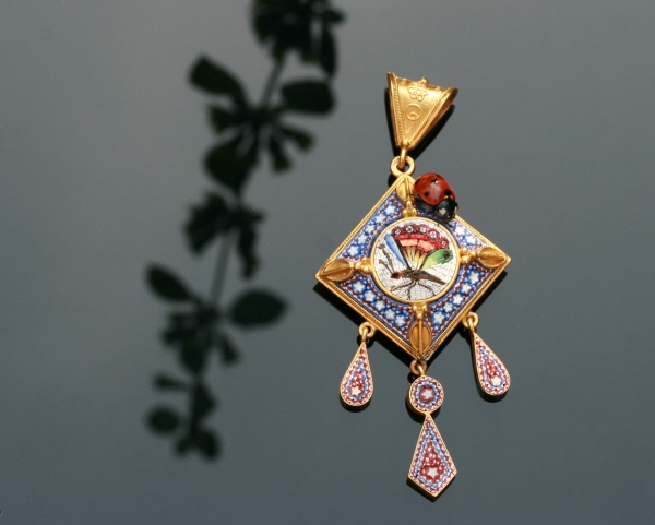 Victorian micromosaic pendant with compartment in the back from the antique jewelry collection of Adin Antique Jewelry, Antwerp, Belgium