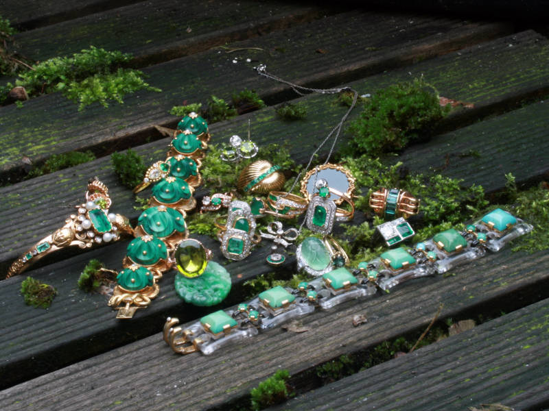 The complete green antique jewelry collection of Adin Antique Jewelry, Antwerp, Belgium