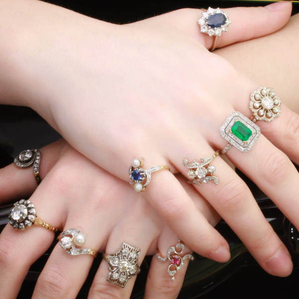 The complete antique rings collection of Adin Antique Jewelry, Antwerp, Belgium