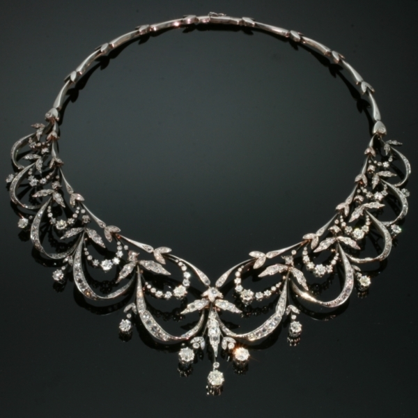 Antique Victorian rose cut diamond necklace former tiara truly real neck lace from the antique jewelry collection of Adin Antique Jewelry Store, Antwerp, Belgium