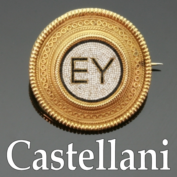 Micro mosaic gold brooch with filigrain by Castellani from the antique jewelry collection of Adin Antique Jewelry Store, Antwerp, Belgium