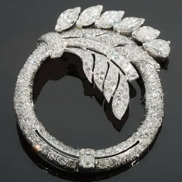 Truly magnificent Art Deco platinum diamond ring brooch from the antique jewelry collection of Adin Antique Jewelry Store, Antwerp, Belgium