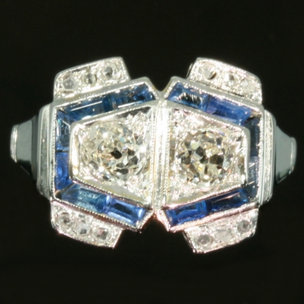 Sapphire diamond engagement ring Art Deco style from the antique jewelry collection of www.adin.be