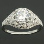 Belle Epoque diamond engagement ring platinum fine estate jewelry from the antique jewelry collection of www.adin.be