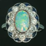 Estate opal engagement ring diamond sapphire platinum from the antique jewelry collection of www.adin.be