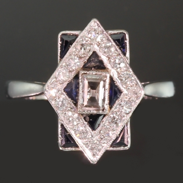 Most charming estate Art Deco engagement ring with diamonds and sapphires from the antique jewelry collection of www.adin.be