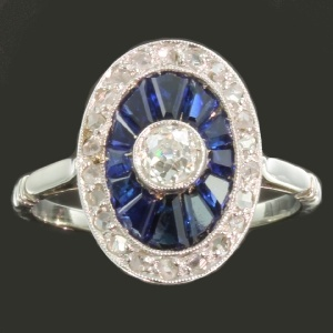 antique and estate rings with blue
