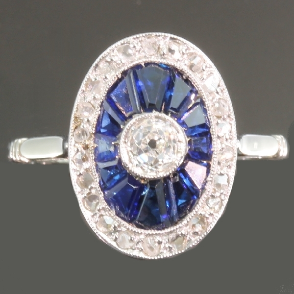 Most elegant French Art Deco engagement ring with diamonds and sapphires from the antique jewelry collection of www.adin.be
