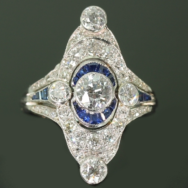 Magnificent Art Deco platinum diamond and sapphire engagement ring from the antique jewelry collection of www.adin.be