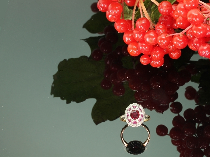 Most decorative Belle Epoque diamond ruby antique engagement ring from the antique jewelry collection of www.adin.be