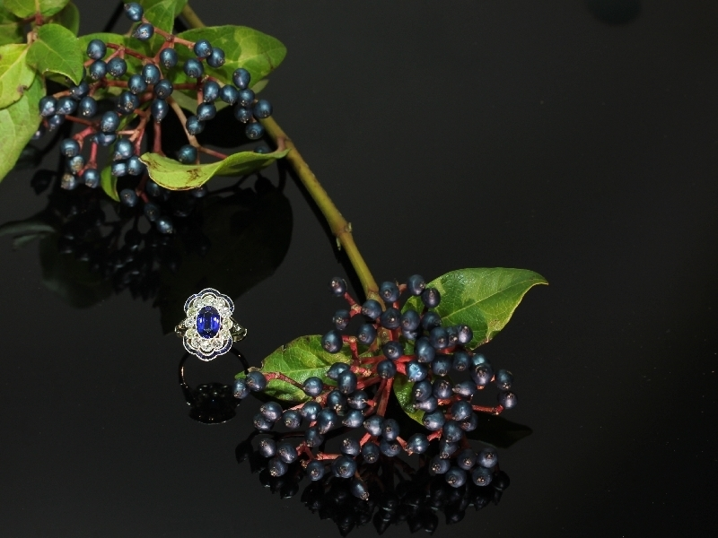 Splendid Belle Epoque Art Deco sapphire and diamonds antique engagement ring from the antique jewelry collection of adin at www.adin.be