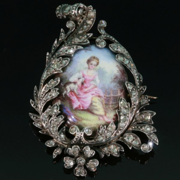 Antique painted miniature enameled pin diamond from the antique jewelry collection of www.adin.be