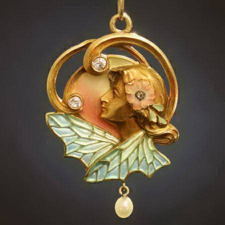 High quality Art Nouveau pendant and brooch with plique a jour enamel from the forties from the antique jewelry collection of www.adin.be