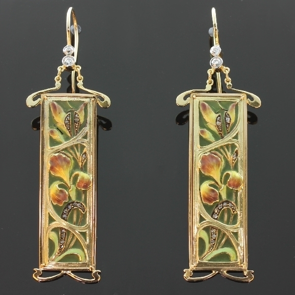 Plique ajour enamel Art Nouveau stained glass window earrings emaille a fenetre the antique jewelry collection of www.adin.be