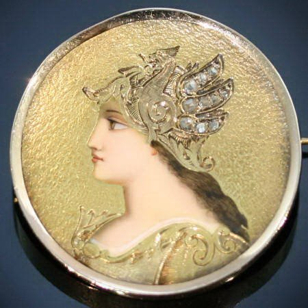Victorian enameled brooch goddess Minerva from the antique jewelry collection of www.adin.be