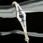 Belle Epoque Art Deco gold and platinum bracelet with diamonds and sapphires from the antique jewelry collection of www.adin.be
